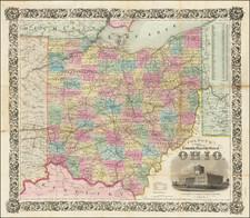 Ohio Map By Joseph Hutchins Colton