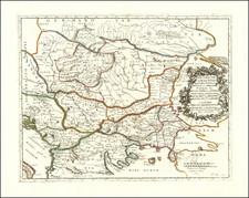 Romania, Serbia & Montenegro, Albania, Kosovo, Macedonia, Bulgaria, Turkey and Greece Map By Nicolas Sanson