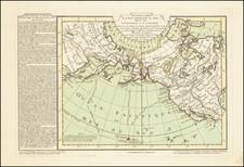 Polar Maps, Alaska, Pacific, Russia in Asia and California Map By Philippe Buache / Jean-Claude Dezauche