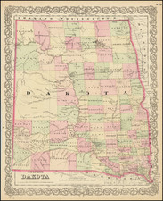 North Dakota and South Dakota Map By G.W.  & C.B. Colton