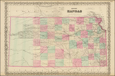 Plains and Kansas Map By G.W.  & C.B. Colton