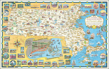 Massachusetts and Pictorial Maps Map By Ernest Dudley Chase