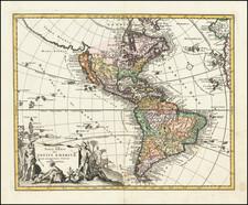 Western Hemisphere, California as an Island and America Map By Johann Christoph Weigel