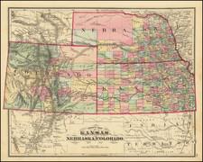 Kansas, Nebraska, Colorado and Colorado Map By Everts