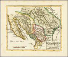 Texas, Southwest, Mexico and Baja California Map By Gilles Robert de Vaugondy
