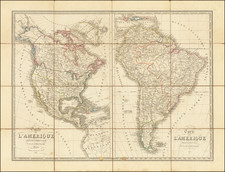 North America, South America and America Map By N. Maire