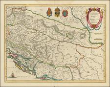 Balkans, Croatia & Slovenia, Bosnia & Herzegovina and Serbia & Montenegro Map By Willem Janszoon Blaeu
