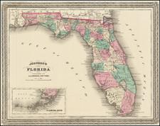 Florida Map By Alvin Jewett Johnson