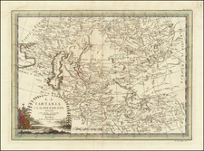 Central Asia & Caucasus, Persia & Iraq and Russia in Asia Map By Giovanni Maria Cassini