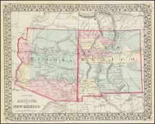 Southwest Map By Samuel Augustus Mitchell Jr.