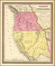 Southwest, Arizona, Colorado, Utah, Nevada, New Mexico, Rocky Mountains, Colorado, Idaho, Montana, Utah, Wyoming, Oregon, Washington and California Map By Samuel Augustus Mitchell