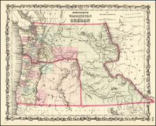 Idaho, Pacific Northwest, Oregon and Washington Map By Alvin Jewett Johnson  &  Ross C. Browning