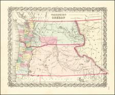 Idaho, Oregon and Washington Map By Joseph Hutchins Colton