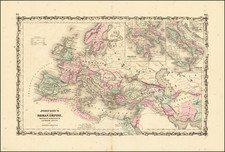Europe, Italy and Mediterranean Map By Alvin Jewett Johnson  &  Ross C. Browning