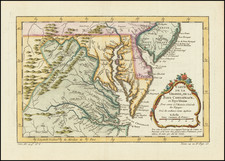 New Jersey, Maryland, Delaware and Virginia Map By Jacques Nicolas Bellin