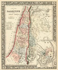 Asia and Holy Land Map By Samuel Augustus Mitchell Jr.