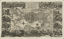 Italy, Turkey, Mediterranean, Cyprus, Middle East, Holy Land, Turkey & Asia Minor and Greece Map By Petrus Plancius