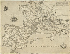 France and Spain Map By Antonio Lafreri