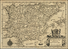 Spain and Portugal Map By Baptista Van Deutecum