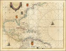 Atlantic Ocean, Florida, Southeast and Caribbean Map By Willem Janszoon Blaeu