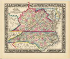 Virginia and North Carolina Map By Samuel Augustus Mitchell Jr.