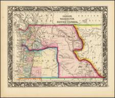 Idaho, Montana, Wyoming, Oregon and Washington Map By Samuel Augustus Mitchell Jr.