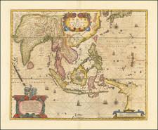 India, Southeast Asia, Philippines, Indonesia, Thailand, Cambodia, Vietnam and Australia Map By Henricus Hondius