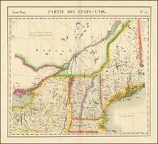 New England, Maine, Massachusetts, New Hampshire, Vermont, New York State and Eastern Canada Map By Philippe Marie Vandermaelen