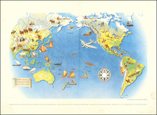 Pacific Ocean, North America, South America, Southeast Asia, Pacific and Pictorial Maps Map By Miguel Covarrubias