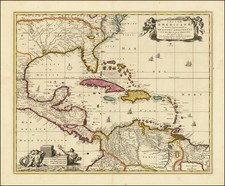 Florida, South and Caribbean Map By Nicolaes Visscher I / Peter Schenk Junior