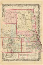 Plains, Kansas, Nebraska, North Dakota, South Dakota, Colorado, Colorado, Montana and Wyoming Map By Samuel Augustus Mitchell Jr.