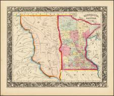 Minnesota, North Dakota and South Dakota Map By Samuel Augustus Mitchell Jr.