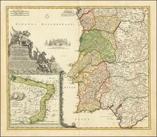 Brazil and Portugal Map By Johann Baptist Homann
