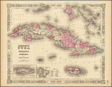 Cuba, Puerto Rico and Bahamas Map By Alvin Jewett Johnson  &  Benjamin P Ward