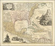 United States, South, Southeast, Texas, Midwest and Caribbean Map By Johann Baptist Homann / Augustus Herman Petermann