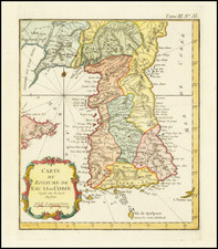 Korea Map By Jacques Nicolas Bellin