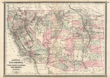 Southwest, Rocky Mountains and California Map By Alvin Jewett Johnson