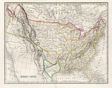 United States and Texas Map By Jules Renouard