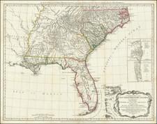 Florida, South, Southeast and American Revolution Map By Robert Sayer  &  John Bennett