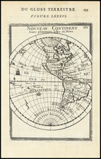 Western Hemisphere, California as an Island and America Map By Alain Manesson Mallet