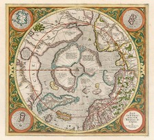 World, Northern Hemisphere, Polar Maps and California Map By Gerard Mercator
