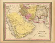 Middle East, Arabian Peninsula and Persia & Iraq Map By Samuel Augustus Mitchell