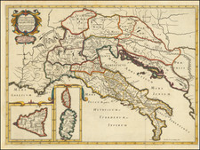 Italy, Corsica, Sardinia and Sicily Map By Tipografia del Seminario