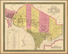 Washington, D.C. Map By Samuel Augustus Mitchell