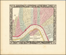 New Orleans Map By Samuel Augustus Mitchell Jr.