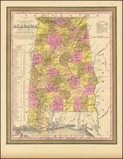 Alabama Map By Samuel Augustus Mitchell