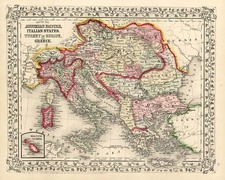 Europe, Austria, Balkans, Greece and Balearic Islands Map By Samuel Augustus Mitchell Jr.