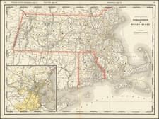 Massachusetts, Rhode Island and Boston Map By George F. Cram