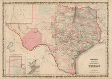 Texas Map By Alvin Jewett Johnson  &  Browning