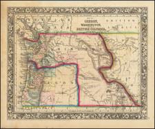 Idaho, Pacific Northwest, Oregon and Washington Map By Samuel Augustus Mitchell Jr.